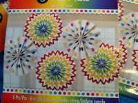 Rainbow dots and chevron pack 5 paper fans