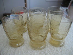 ...Six Old Yellow Depression Glass Tumblers....
