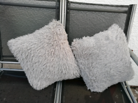 Grey/silver fluffy cushions.