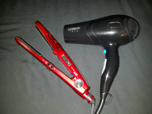 Flat iron and hair dryer