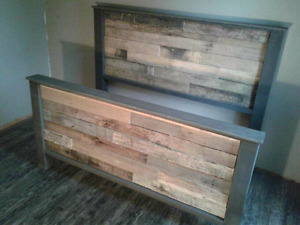 Queen size made to order pallet bed. Rustic decor.