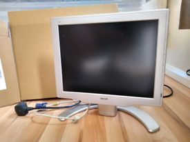 """Philips slim 15"""" VGA monitor with stand & cables. Fully working. VGC."""