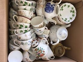 Job lot of cups, saucers, milk jugs and tea pots