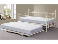 Ivory metal frame day bed with trundle