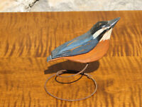 Hand Carved and Painted Wooden Nuthatch Bird on Wire Spring