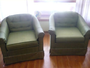 two fabric chairs