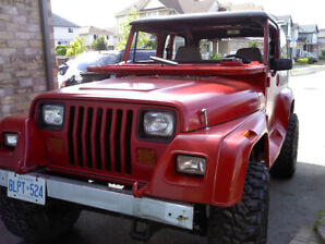 "1992 Jeep YJ 4""Lift 4.0L Restored and CERT. $7950 O.B.O."