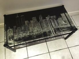 Unique Glass Coffee table with designer NewYork with twin towers NEW