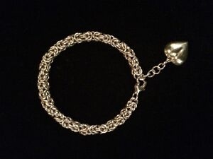 NEW, 50% OFF HANDMADE STERLING SILVER BRACELET WITH HEART CHARM