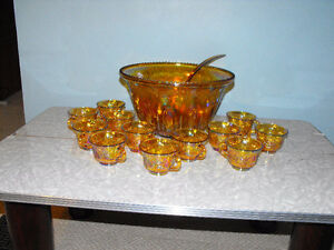 Marigold Carnival Punch bowl and cups set for sale