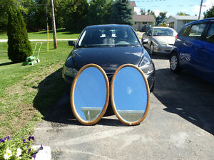 SOLID OAK FRAMED OVAL MIRRORS [X2] $100