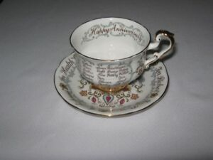 PARAGON  HAPPY ANNIVERSARY BONE CHINA CUP and SAUCER