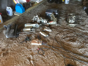 Assorted 75hp envirude motor and parts plus mercury 45hp motor