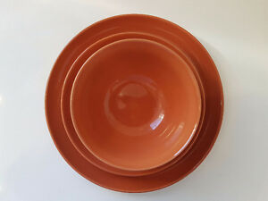 Orange plate and bowl set