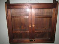 display case wood with glass and lock