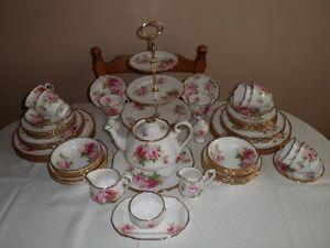 English Royal Albert China with Cabinet