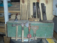 tool box and antique tools