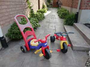 Pair of Toddlers Ride On Trike- One with a parent Handle Kitchener / Waterloo Kitchener Area image 2