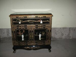 Chinese end table cabinet