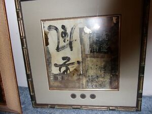 Oriental Framed Pictures & Sm Oriental Lighted Display cabinet