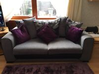 Light grey sofa/couch with grey chair and large stool (reduced price !!!)