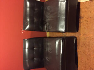Brown faux leather storage chairs