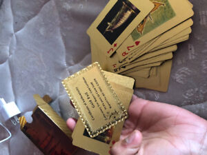 Dubai gold foil playing cards with certificate of authority