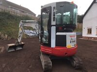Mini digger hire with operator (3 ton)