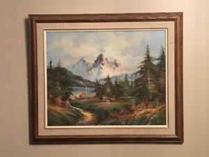 Painting with frame - woods and mountains