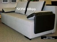 SOLID SOFA BEDS WITH STORAGE & QUEEN SIZE SLEEPING SURFACE!