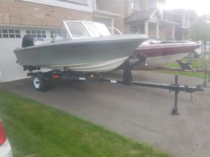 Mercury Force 85 HP 15' Fiberglass Boat+Motor+Trailer