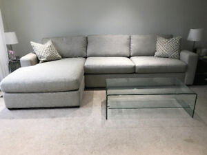 Gently Used Jennifer Chaise Lounge Sofa in dove grey/white