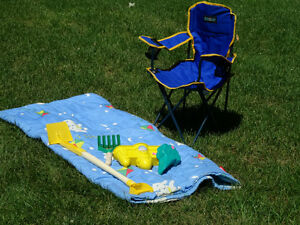 REDUCED Child's camping chair, sleeping bag and sand toys