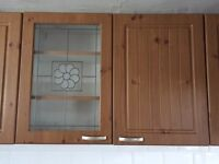 Used B&Q Pine Effect Country Style Kitchen Doors with Handles and Hinges