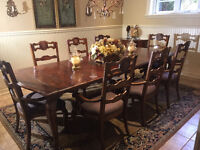 Country style Dining table with 8 chairs