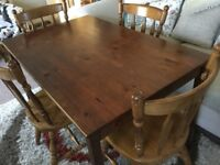 Table and 4 chairs sturdy good starter set can deliver for small cost