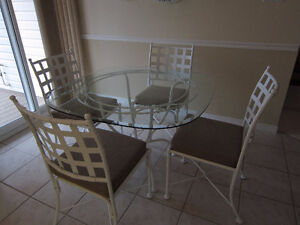 White Wrought Iron & Glass Kitchen Dining Set, 4 Chairs
