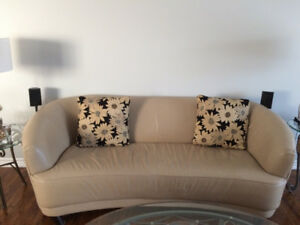 Genuine Leather beige colour couch for sale.
