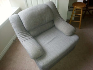 Grey armchair, great condition, with leg rest