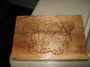 Wood Carved Keepsake Playing Card Box Strathcona County Edmonton Area image 1