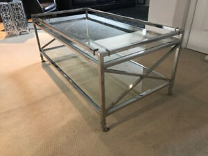 Up Country Chrome and Glass Coffee Table