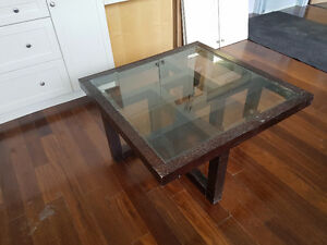 Beautiful glass and hardwood coffee table