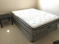 queen mattress and box spring, frame and bedside table