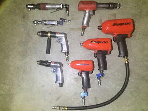 8 PC, MECHANIC AIR TOOLS PACKAGE (SNAP-ON, MAC, MATCO).