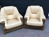 Two beautiful quality German leather armchairs