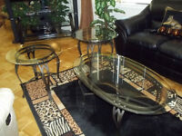 3piece wrought iron  glass coffeetable and endtables