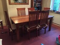 Acacia solid wood dining table and 6 chairs