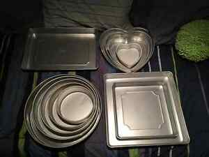 Lot of Wilton cake pans. Round. Square. Heart. Rectangle.