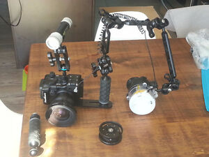 complete underwater camera, Housing and tray system w/ lighting