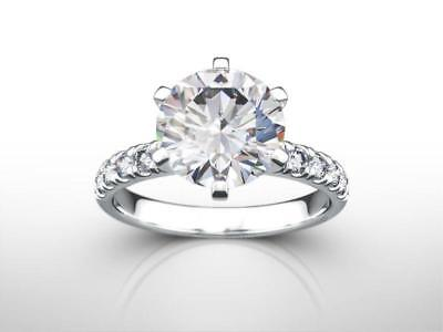 4 Carat Round Cut D VS2 100% Natural Diamond Engagement Ring 14k White Gold